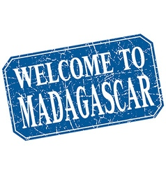 Welcome to madagascar blue square grunge stamp vector