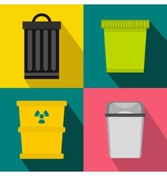 Trash bin garbage banners set flat style vector