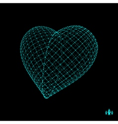 Love heart symbol design element 3d grid vector