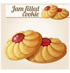 Jam filled cookie detailed icon vector