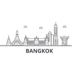 bangkok architecture line skyline vector image