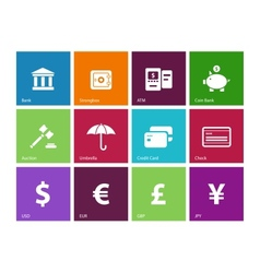 Banking icons on color background vector