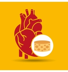 Blue heart cheese icon graphic vector