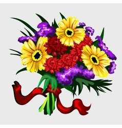 Bouquet of yellow red and purple flowers vector