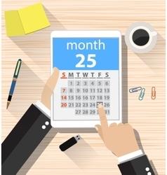 businessman clicks on the day calendar app vector image