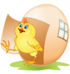 cartoon chicken and egg vector image vector image