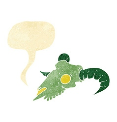 Cartoon magic ram skull with speech bubble vector