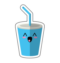cartoon plastic cup drink cola vector image