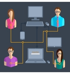 Computer technology communication people vector image