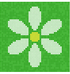 Cross-stitched camomile flower vector