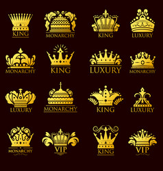 crown king vintage premium golden yellow badge vector image
