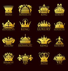 crown king vintage premium golden yellow badge vector image vector image