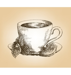 Cup of tea with mint and lemon vector image