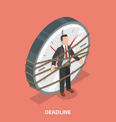 Deadline flat isometric concept vector