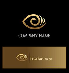 eye optic lens gold logo vector image vector image