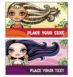 fashion cards 2 vector image vector image
