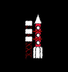 Flat icon design collection rocket station in vector