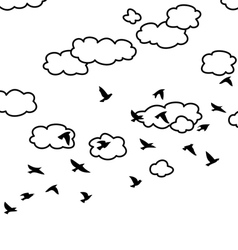 Flying birds and clouds in the sky vector