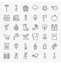 Garden Flower Line Art Design Icons Big Set vector image