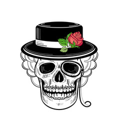 Hand drawn sketch skull in hat rose monocle vector