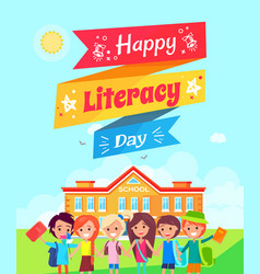 happy literacy day ribbon vector image vector image