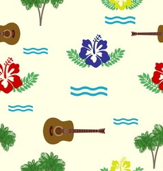 Hibiscus guitars and palm trees pattern vector
