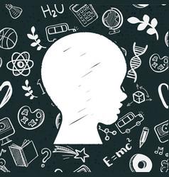 kids face on blackboard vector image