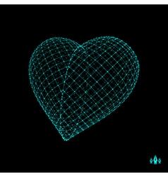 Love heart symbol design element 3d grid vector