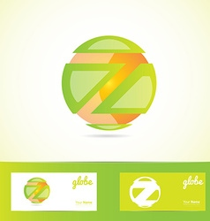 Orange green sphere globe logo vector image