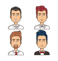 Portrait happy men dressed tie and bow tie vector