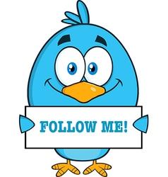 Royalty free rf clipart smiling blue bird cartoon vector