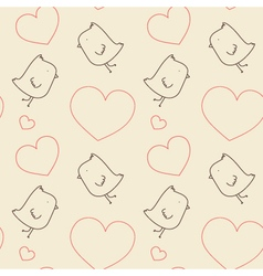 Seamless Pattern - Birds and Hearts vector image vector image