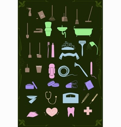 set of cleaning and healthcare icons in pastel vector image