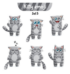 Set of tabby cat characters set 5 vector