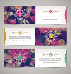 Three elegant banners with floral background vector