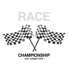 Two checkered black flag racing vector