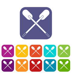 Two wooden crossed oars icons set flat vector