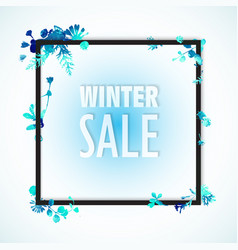 winter sale banner blue watercolor leaves and vector image