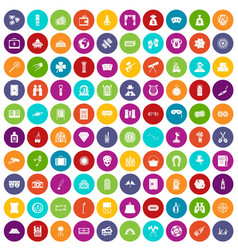 100 adult games icons set color vector