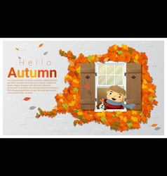 Hello autumn background with little boy vector