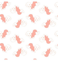 Seamless pattern with cute crawling babies vector