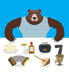 Russian bear sells souvenirs russian traditional vector