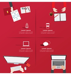 Creative business office workspace infographic vector