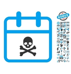 Skull deadline day flat icon with bonus vector