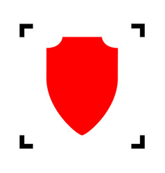 Shield sign   red icon inside vector