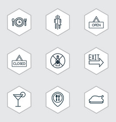 Set of 9 cafe icons includes closed placard vector