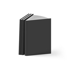 stack of black books on white background mockup vector image