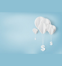 Paper art of balloon with dollar sign vector