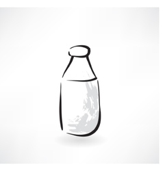 Milk bottle grunge icon vector
