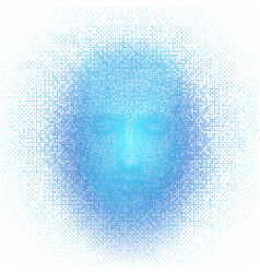 3d rendering of robot face with numbers on white vector